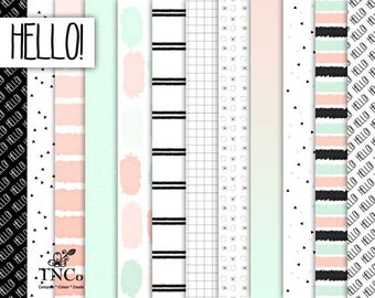contemporary printable paper, mint patterned download, scrapbook supplies, for commercial use.