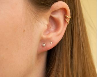 Tiny cz studs - cz - cubic zirconia - 9ct gold stud earrings - tiny gold studs - tiny cz - tiny gold earrings - SF1208-1201