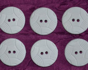 set of 6 white fancy buttons
