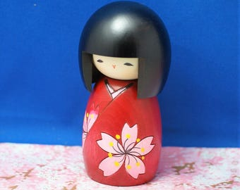 Japanese Creative Wooden Doll Kokeshi by Usaburo 12cm Cherry Blossoms