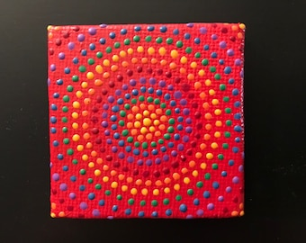 Rainbow Circles on Red magnet
