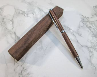 Hand-turned slimline exotic wooden pen made from Indian Rosewood, with Chrome-plated fittings