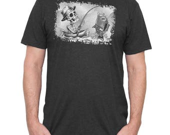 Halloween Shirt! Fishing Shirt - Men's Fishing Shirt - Skeleton Fishing and Catching a Fish Hand Screen Printed on a Mens T-shirt