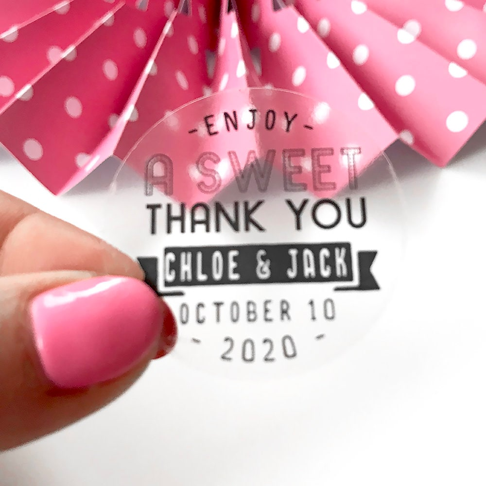 Clear stickers wedding favours, Thank you stickers wedding favor ...