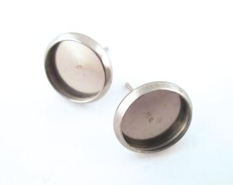 10mm Bezel Stud Earrings, Stainless Steel, C175
