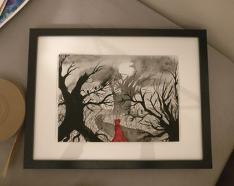 Little red riding hood in the black forest and white forest under a moonlit sky
