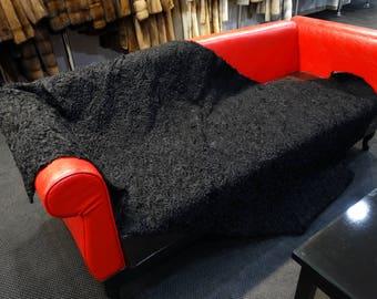 Black Astrakhan Fur Blanket, Fur Throws F782