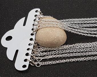 12 colliers chaîne maille forçat 3x2mm argent 62cm