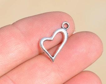 1 Silver Open Heart Charm SC2182
