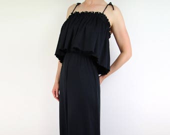 VINTAGE Dress 1970s Black Maxi Dress Ruffle Pleat Small