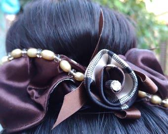Ring elastic hair chignon, Knot Elastic hair bun brides, High Quality Elastic, hair accessory, brown satin, freshwater and crystals