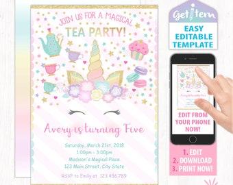 Tea party invitation etsy unicorn tea party invitation tea birthday invitation unicorn invitation id utp210 stopboris Image collections