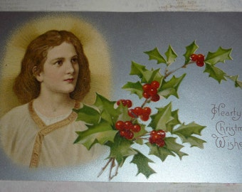 Jesus and Holly Antique UDB Christmas Postcard
