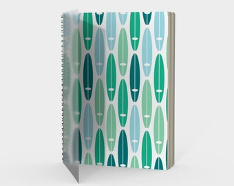Vintage Surf Boards Spiral Notebook in Turquoise Teal Mint Green Blue with drawing paper or sketch paper blank ruled graph or bullet journal