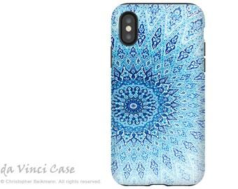 Blue Zen Mandala - Artistic iPhone X Tough Case - Dual Layer Protection for Apple iPhone 10 - Cloud Mandala by Da Vinci Case