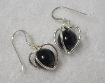 Onyx sphere in Sterling Silver cage earrings