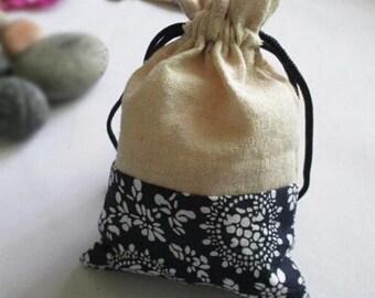 Burlap Bags, jute bag, floral jute bag, Wedding Favor Bags, Burlap Favor Bags, Party Favor Bags, Wedding Gift Bags,Jewelry Bag,10pcs,BAG-017