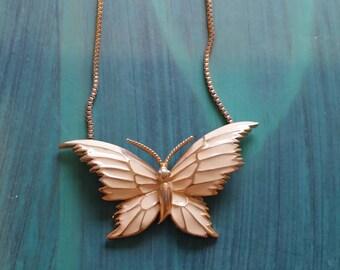 Vintage Enameled Butterfly Necklace