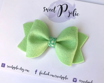 Granny Smith Wool Felt + Glitter Hair Bow // Light Green Spring Summer Hair Clip Headband // Large Girls Newborn Baby Bow