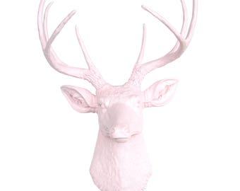 Deer Head Decor - Light Pink - Deer Head Antlers Faux Taxidermy Wall Mount - Baby Nursery Decor - Woodland Baby Nursery D0606