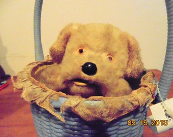 Puppy in a Basket wind up toy 1940's