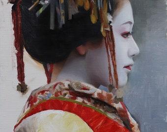 "Sakuragi Tayu- signed 8"" x 10"" print of an original oil painting - japanese geisha art asian artwork"