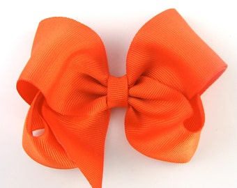 Orange Hair Bow - 4 Inch Classic Boutique Hairbow - Baby Toddler Girl - Solid Color Basic Hairbows