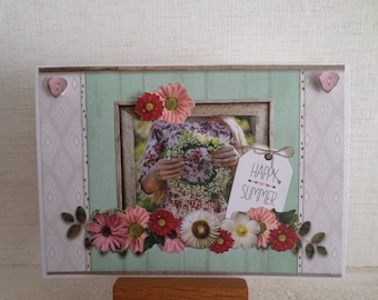 card for any occasion with the young lady and flowers