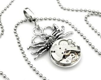 Steampunk Arachnid Pendant - Goth Tarantula Necklace - Halloween Spider Pendant -  clockwork spider pendant - Steampunk gift idea