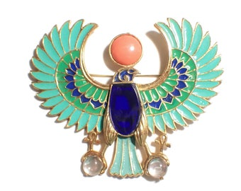 Hattie Carnegie, Egyptian Revival, Huge Brooch, Horus Falcon, Figural Bird, Vintage Brooch Pendant