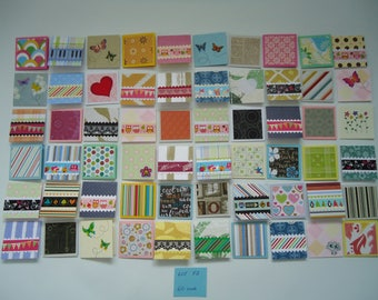 60 little mini notecards, mini shop cards, lunchbox love notes, tiny mixed lot notecards, 2 x 2 mini notecards, blank notecards, lot F1