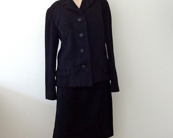 1960s Black Wool Suit / cashmere soft jacket and pencil skirt / vintage fashion