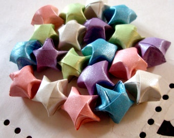 Origami Stars - 20 Pastel Sheen Origami Lucky Stars - Party Favor, Gift Enclosure, Art or Craft Supply - Pink Blue Lavender Green White