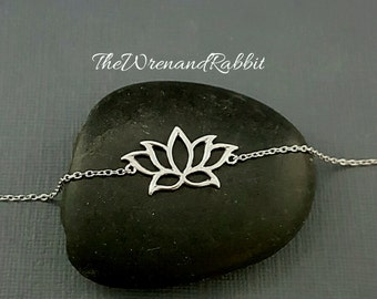 Lotus Bracelet. Lotus Anklet. Lotus Necklace. Tiny Lotus flower. Waterlily necklace. Summer jewelry.Yoga jewelry. Spring anklet. Tiny charm