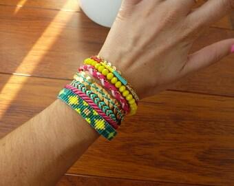 Colorful Multi strand bracelet cuff season summer