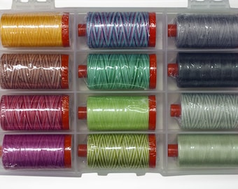 Tula Pink Premium Collection Cotton Thread by Aurifil 12 Large Spools 50wt TP50TP12