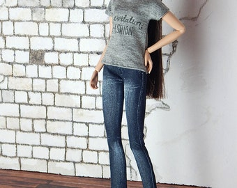 "Capsule Collection grey shirt ""Levitation Fashion"" logo for Fashion Royalty, FR2, Poppy Parker, NuFace, Barbie and other 12"" fashion dolls"