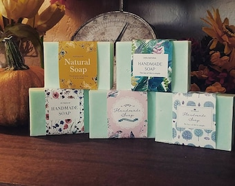 Handmade soaps made with goats milk, Shea butter or oatmeal for exfoliating.