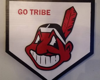 Handmade Cleveland Indians Home Plate Wood Sign