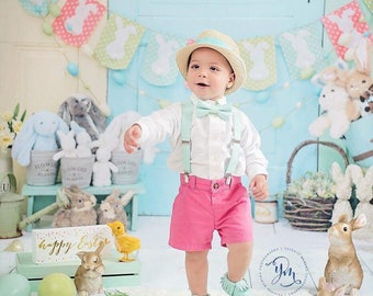 Toddler easter outfit, boys easter clothes, boy mint easter outfit, bow tie suspender set for easter, mint bow tie, easter baby clothes