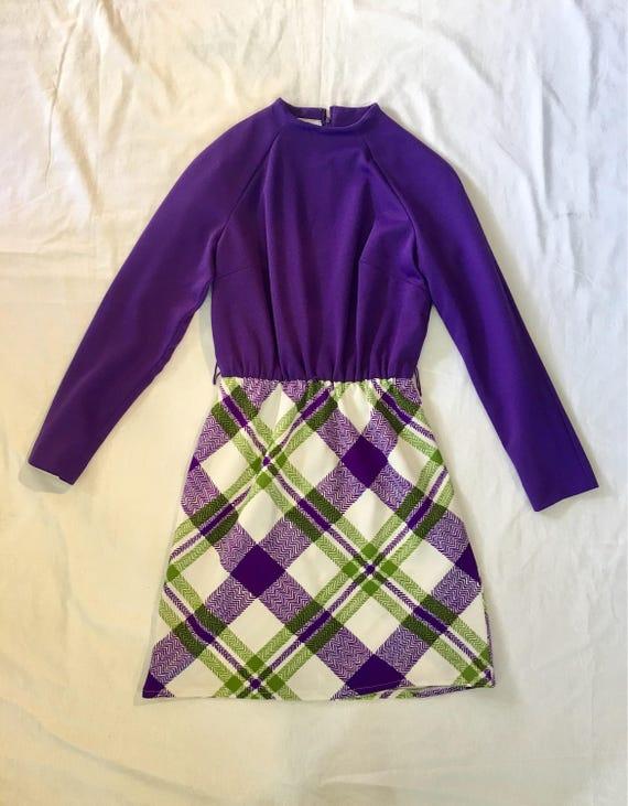 70s Mini Dress Purple Plaid Micro Mini Mod Schoolgirl by Etsy