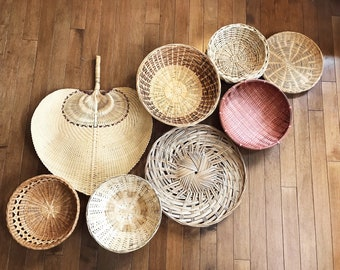 8 Hanging Woven Wall Baskets / Vintage Rattan Baskets / Wicker Baskets / Jungalow Decor / Bohemian Decor / Boho Wall Art Fan Tribal Eclectic