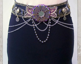 "Tribal Fusion Belt, Tribal Belly Dance Belt, Festival Belt, Burlesque Belt, Costume Belt, Dark Fusion Belt, Burning, Man, 32.5"" (82,5cm)"