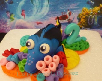3D Edible Cake Topper Finding Dory Nemo Squirt Turtle Fish movie Fondant Gumpaste  Worldwide Shipping