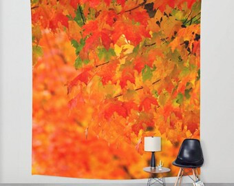 Fall Photography Tapestry, Vivid Orange Autumn Leaves Wall Art, Fall Tree Photography Wall Hanging, Maple Leaves, Autumn Home Decor,Leaf Art