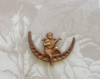 French Vintage Cherub Moon Stamping(1pc) French Cherub Stampings/brass findings/French Brass Stampings/Brass Angel/French Cherub Charm[#77]