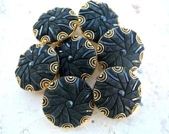 6 Vintage buttons plastic black with  gold color ornament 28mm
