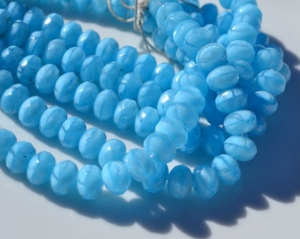 Sky Blue 8x6mm Faceted Czech GLass Rondelle Beads