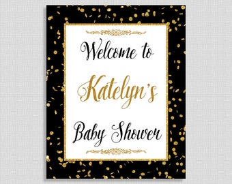 Personalized Baby Shower Welcome Sign, Black and Gold Confetti Sign, Gender Neutral, DIY PRINTABLE