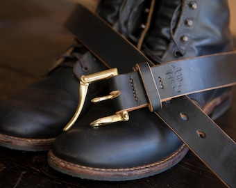"1.5"" Painted Black Leather Quick Release Belt *Scuffs to brown to pair with Red Wing Klondike Leather*"